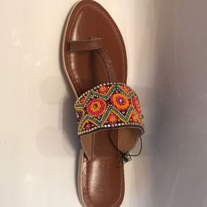 Multicolored woven sandals